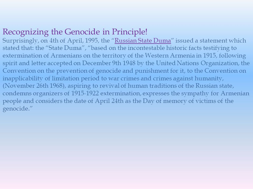 Recognizing the Genocide in Principle.