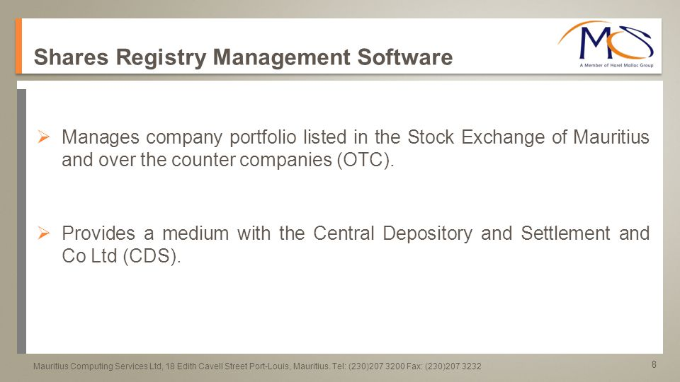 9 a a Mauritius Computing Services Ltd, 18 Edith Cavell Street Port-Louis, Mauritius.