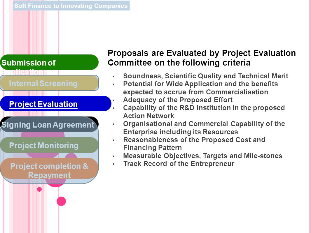 Proposals are Evaluated by Project Evaluation Committee on the following criteria Soundness, Scientific Quality and Technical Merit Potential for Wide