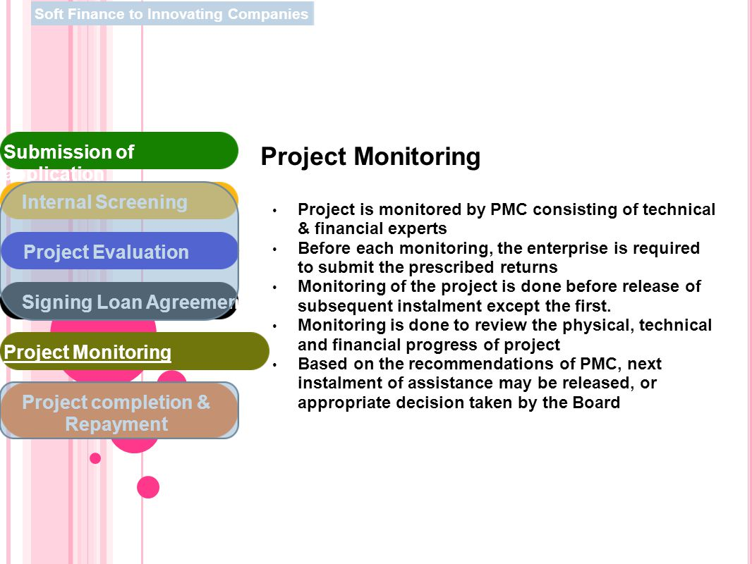 Project Monitoring Project is monitored by PMC consisting of technical & financial experts Before each monitoring, the enterprise is required to submi