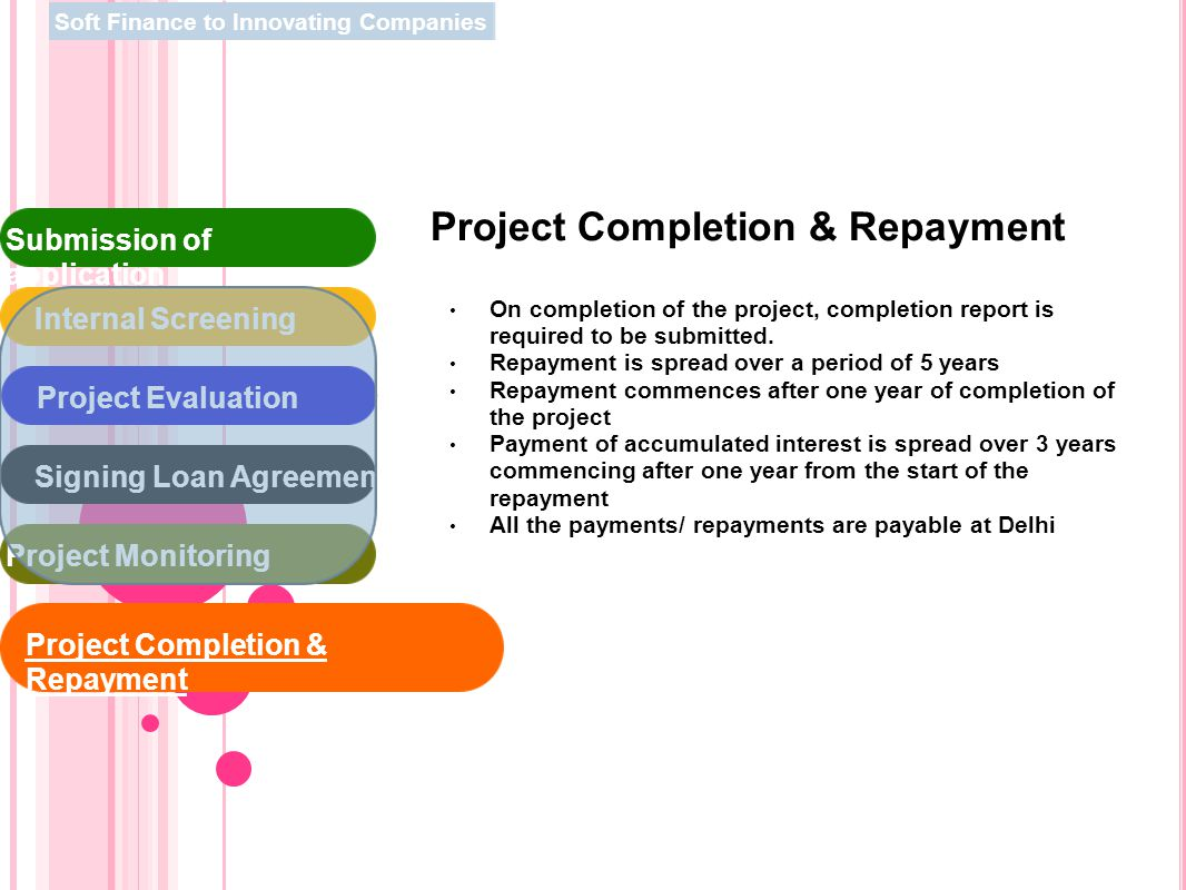 Project Completion & Repayment On completion of the project, completion report is required to be submitted. Repayment is spread over a period of 5 yea
