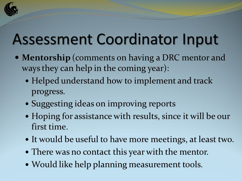 Mentorship (comments on having a DRC mentor and ways they can help in the coming year): Helped understand how to implement and track progress.