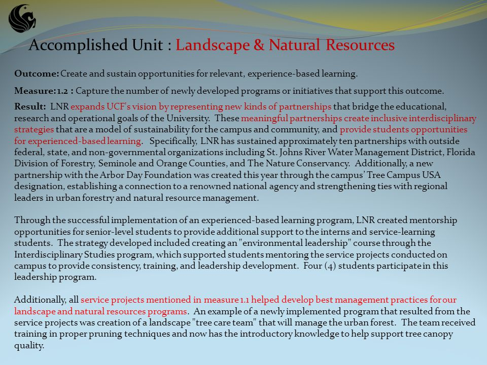 Accomplished Unit : Landscape & Natural Resources Outcome: Create and sustain opportunities for relevant, experience-based learning.