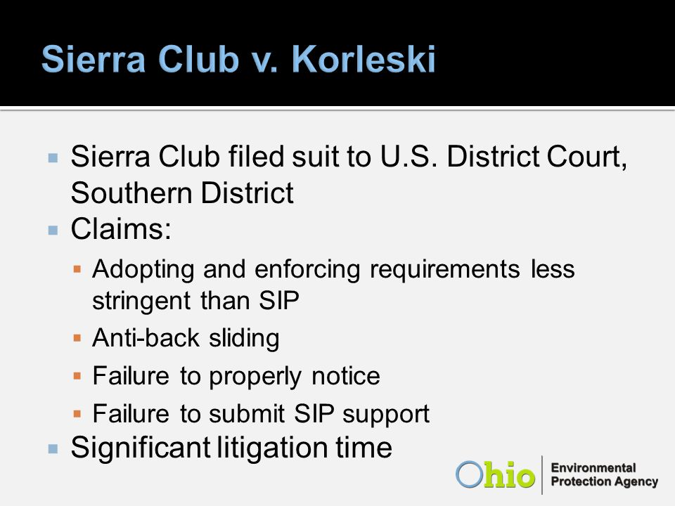 Sierra Club filed suit to U.S.