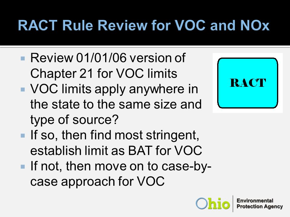 Review 01/01/06 version of Chapter 21 for VOC limits VOC limits apply anywhere in the state to the same size and type of source.