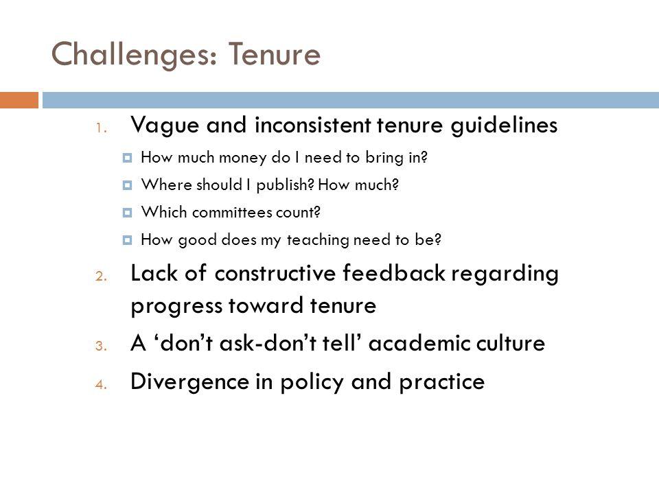 Challenges: Tenure 1.