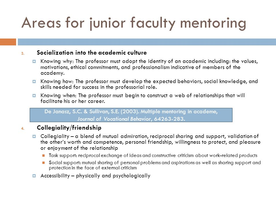 Areas for junior faculty mentoring 3.
