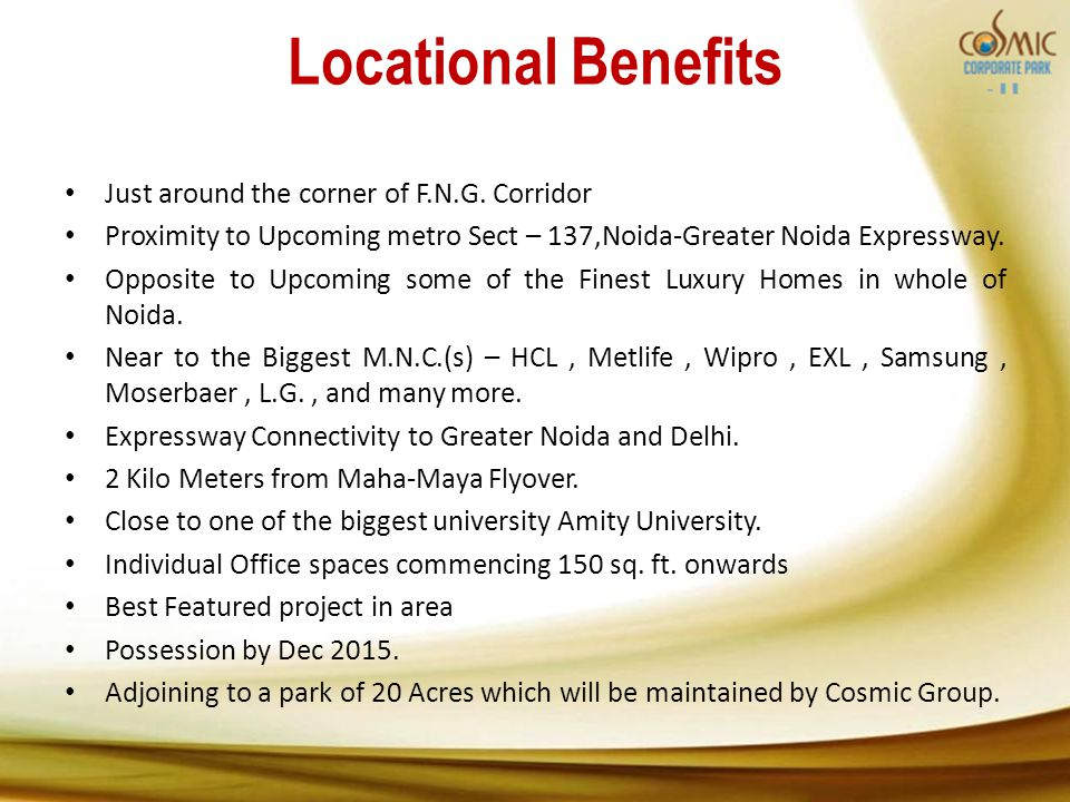 Locational Benefits Just around the corner of F.N.G.