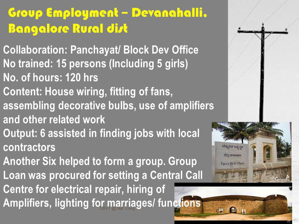 Group Employment – Devanahalli, Bangalore Rural dist Collaboration: Panchayat/ Block Dev Office No trained: 15 persons (Including 5 girls) No.