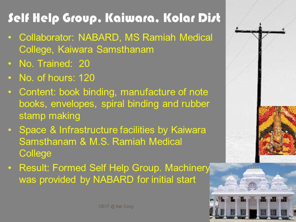 Self Help Group, Kaiwara, Kolar Dist Collaborator: NABARD, MS Ramiah Medical College, Kaiwara Samsthanam No.