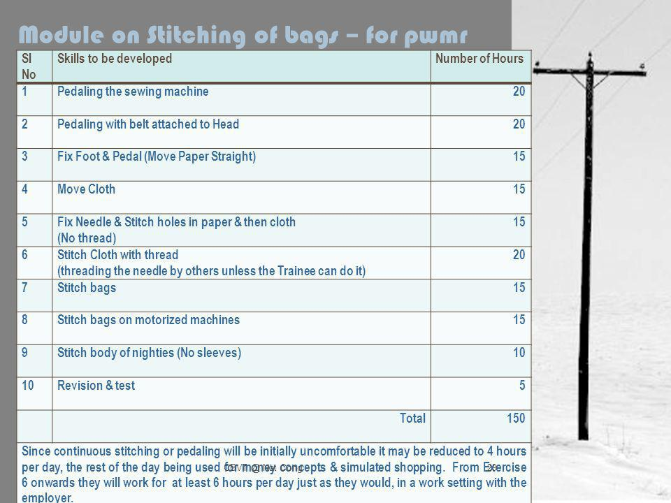 Module on Stitching of bags – for pwmr Sl No Skills to be developedNumber of Hours 1Pedaling the sewing machine20 2Pedaling with belt attached to Head20 3Fix Foot & Pedal (Move Paper Straight)15 4Move Cloth15 5Fix Needle & Stitch holes in paper & then cloth (No thread) 15 6Stitch Cloth with thread (threading the needle by others unless the Trainee can do it) 20 7Stitch bags15 8Stitch bags on motorized machines15 9Stitch body of nighties (No sleeves)10 Revision & test5 Total150 Since continuous stitching or pedaling will be initially uncomfortable it may be reduced to 4 hours per day, the rest of the day being used for money concepts & simulated shopping.