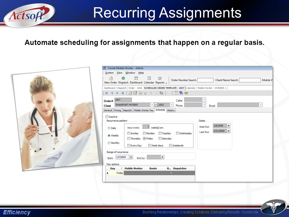 Building Relationships. Creating Solutions. Delivering Results. Worldwide. Recurring Assignments Efficiency Automate scheduling for assignments that h
