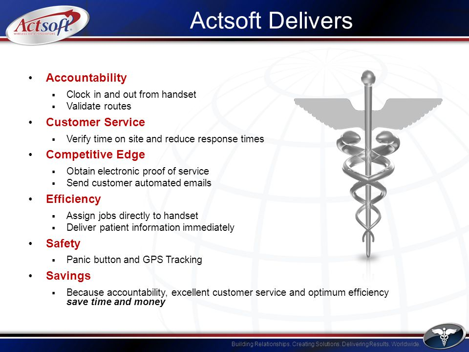 Building Relationships. Creating Solutions. Delivering Results. Worldwide. Actsoft Delivers Accountability Clock in and out from handset Validate rout