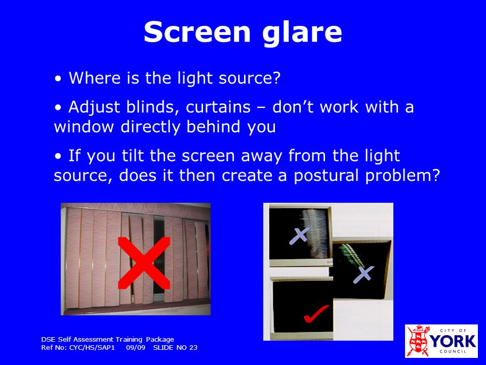 DSE Self Assessment Training Package Ref No: CYC/HS/SAP1 09/09 SLIDE NO 23 Screen glare Where is the light source? Adjust blinds, curtains – dont work