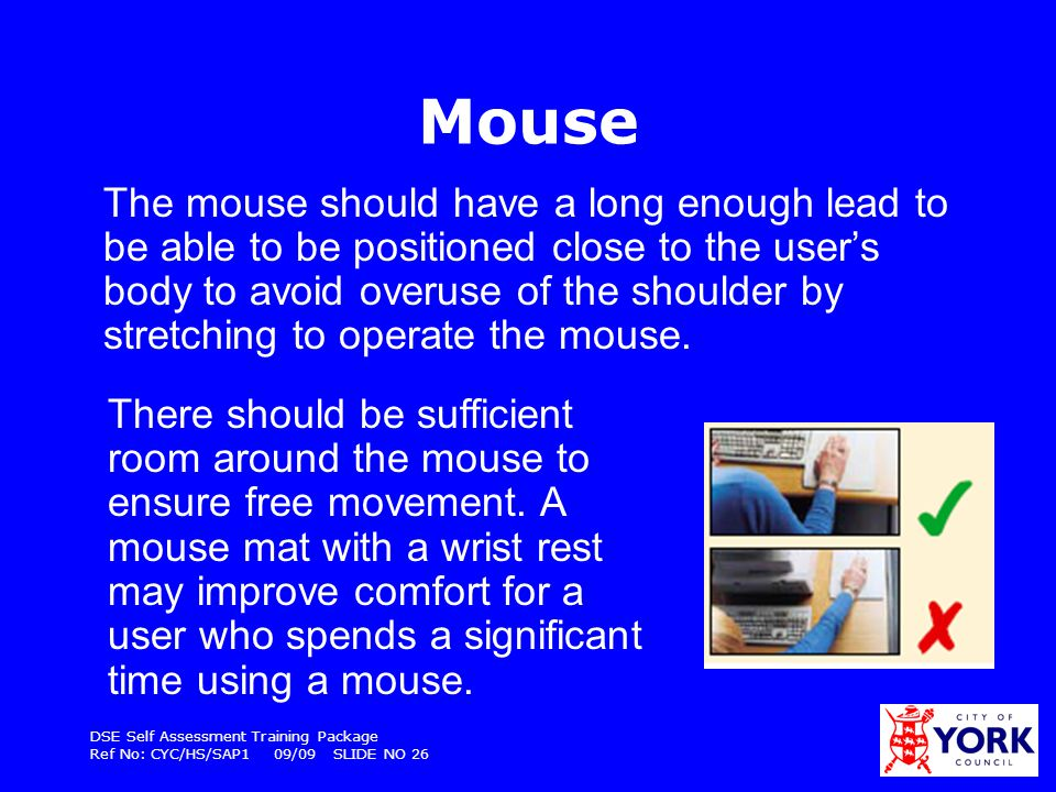 DSE Self Assessment Training Package Ref No: CYC/HS/SAP1 09/09 SLIDE NO 26 Mouse The mouse should have a long enough lead to be able to be positioned
