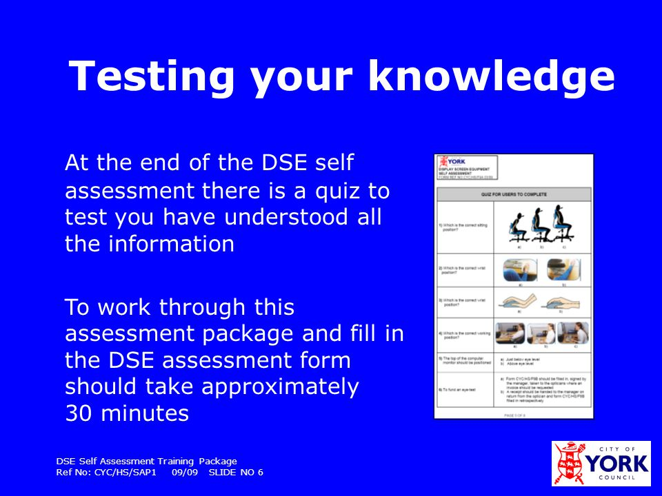 DSE Self Assessment Training Package Ref No: CYC/HS/SAP1 09/09 SLIDE NO 7 What does CYC have to do.