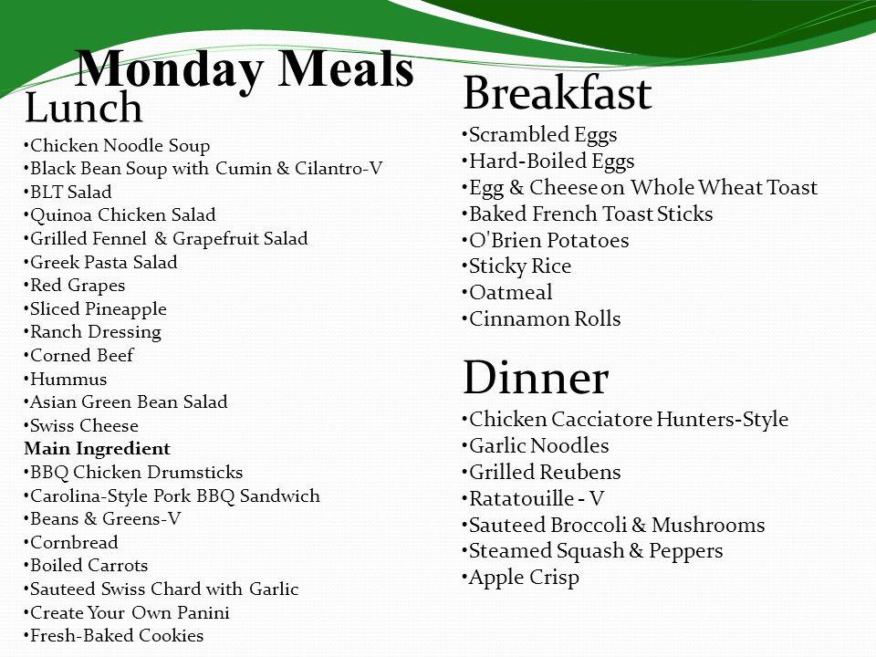 Monday Meals Lunch Chicken Noodle Soup Black Bean Soup with Cumin & Cilantro-V BLT Salad Quinoa Chicken Salad Grilled Fennel & Grapefruit Salad Greek