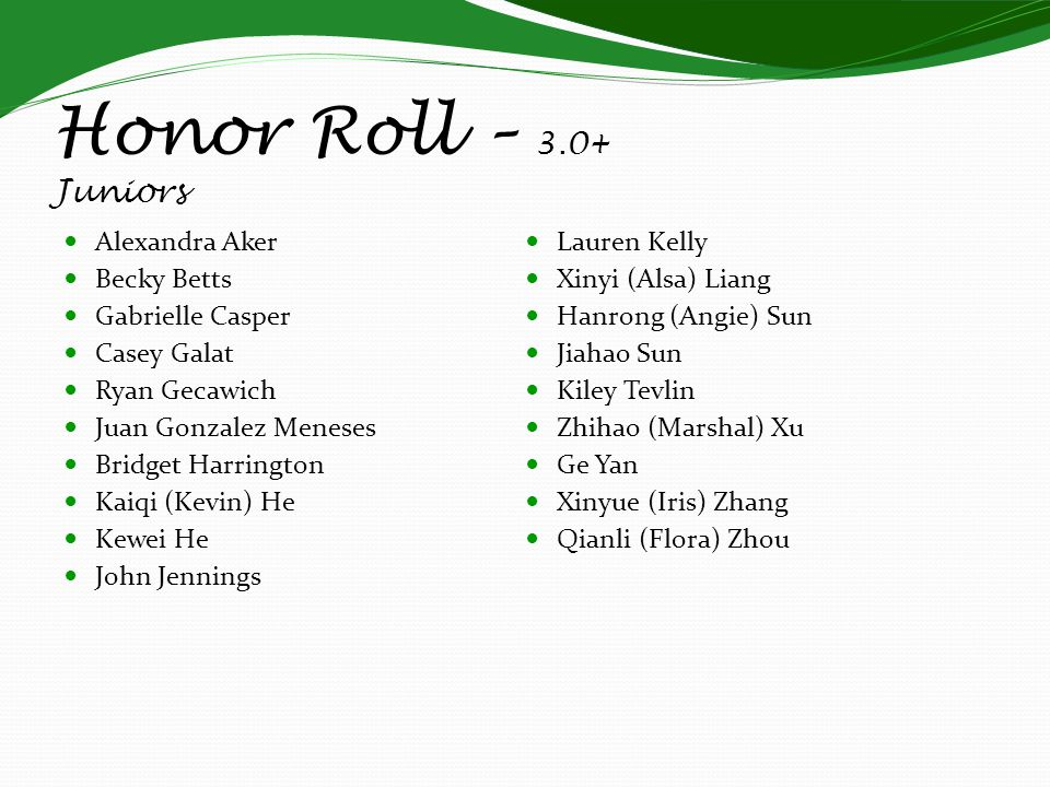 Honor Roll – 3.0+ Juniors Alexandra Aker Becky Betts Gabrielle Casper Casey Galat Ryan Gecawich Juan Gonzalez Meneses Bridget Harrington Kaiqi (Kevin)