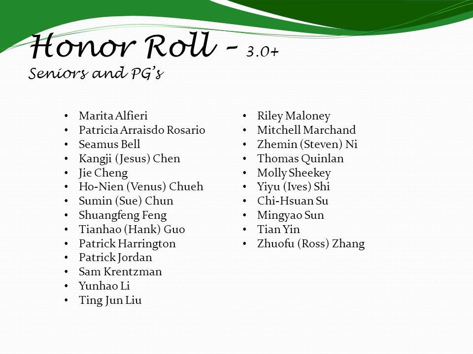 Honor Roll – 3.0+ Seniors and PGs Marita Alfieri Patricia Arraisdo Rosario Seamus Bell Kangji (Jesus) Chen Jie Cheng Ho-Nien (Venus) Chueh Sumin (Sue)