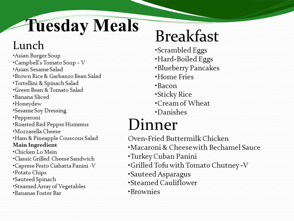 Tuesday Meals Lunch Asian Burger Soup Campbell's Tomato Soup – V Asian Sesame Salad Brown Rice & Garbanzo Bean Salad Tortellini & Spinach Salad Green