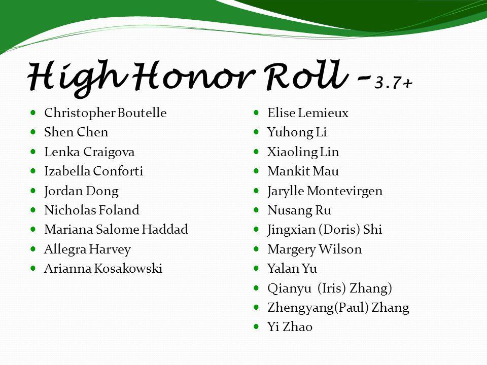 High Honor Roll – 3.7+ Christopher Boutelle Shen Chen Lenka Craigova Izabella Conforti Jordan Dong Nicholas Foland Mariana Salome Haddad Allegra Harve