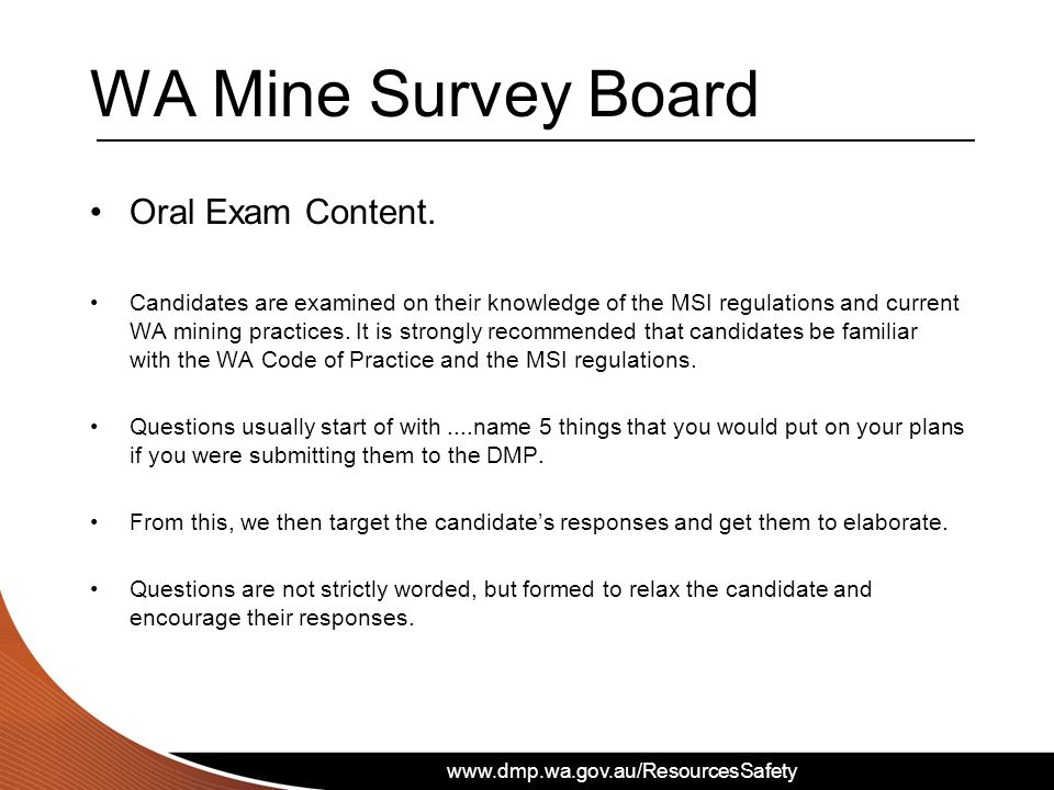 WA Mine Survey Board Oral Exam Content.