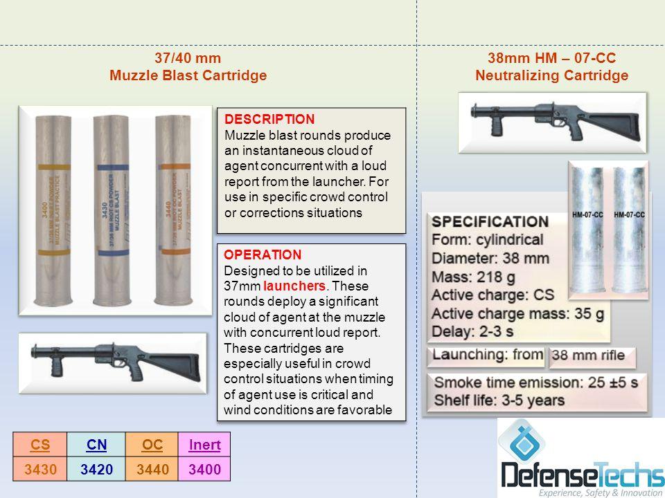 InertOCCNCS 3400344034203430 38mm HM – 07-CC Neutralizing Cartridge 37/40 mm Muzzle Blast Cartridge