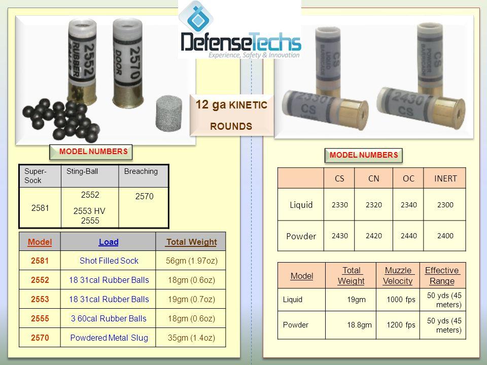 BreachingSting-BallSuper- Sock 2570 2552 2553 HV 2555 2581 MODEL NUMBERS Total WeightLoadModel 56gm (1.97oz)Shot Filled Sock2581 18gm (0.6oz)18 31cal