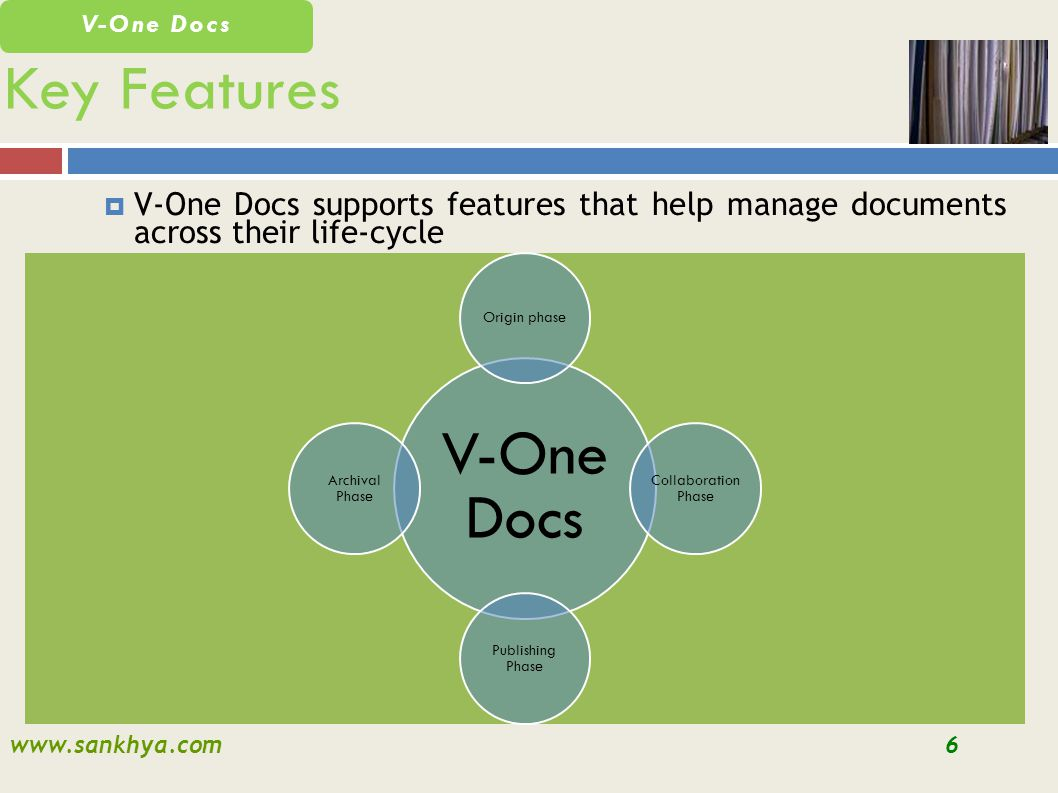 www.sankhya.com6 V-One Docs V-One Docs supports features that help manage documents across their life-cycle Key Features V-One Docs Origin phase Collaboration Phase Publishing Phase Archival Phase