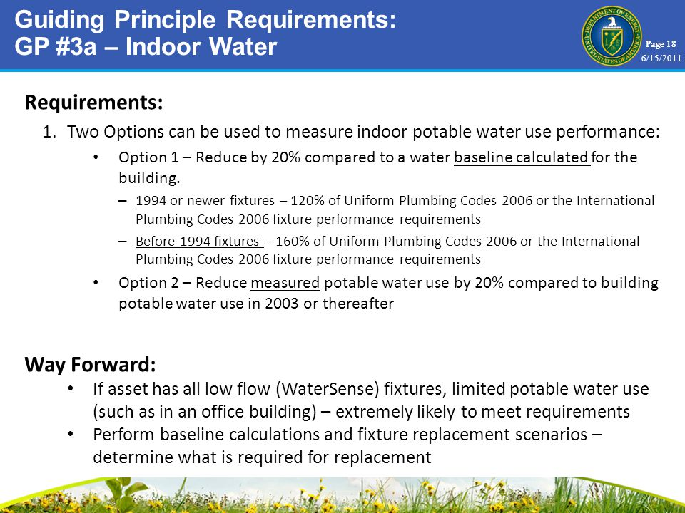 Page 18 Requirements: 1.Two Options can be used to measure indoor potable water use performance: Option 1 – Reduce by 20% compared to a water baseline calculated for the building.