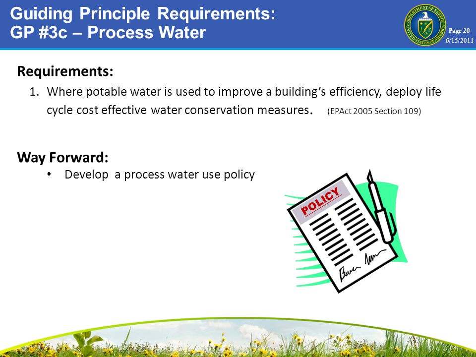 Page 20 Requirements: 1.Where potable water is used to improve a buildings efficiency, deploy life cycle cost effective water conservation measures.