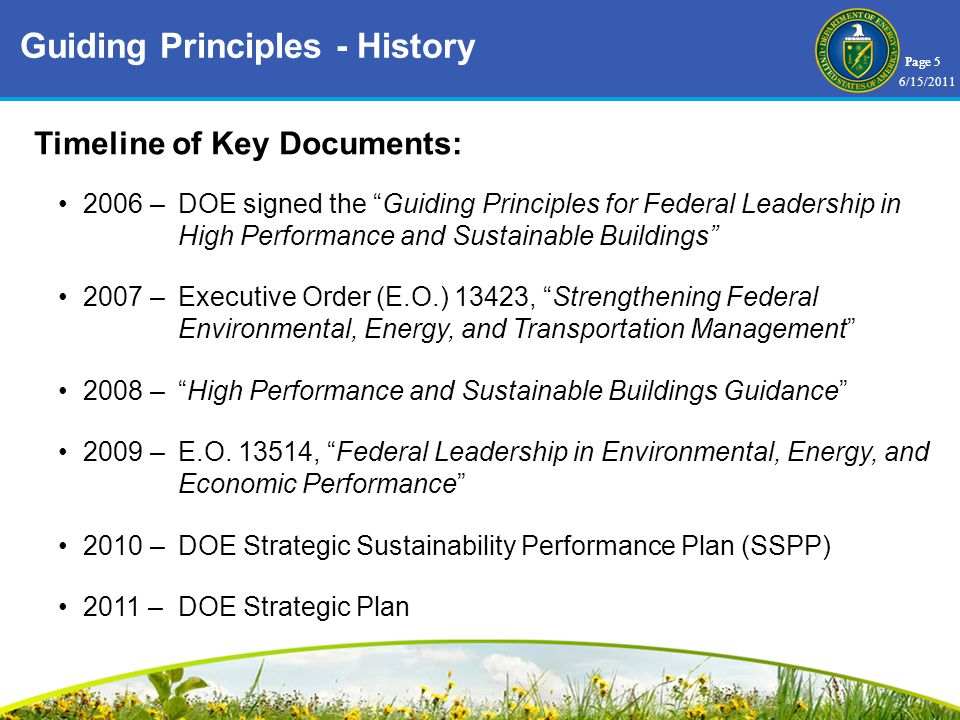 Page 5 Timeline of Key Documents: 2006 –DOE signed the Guiding Principles for Federal Leadership in High Performance and Sustainable Buildings 2007 –Executive Order (E.O.) 13423, Strengthening Federal Environmental, Energy, and Transportation Management 2008 –High Performance and Sustainable Buildings Guidance 2009 –E.O.
