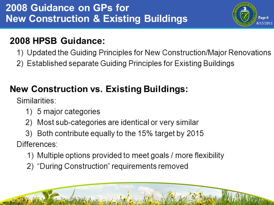 Page HPSB Guidance: 1)Updated the Guiding Principles for New Construction/Major Renovations 2)Established separate Guiding Principles for Existing Buildings New Construction vs.
