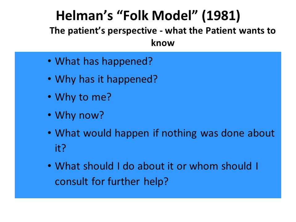 Helmans Folk Model (1981) The patients perspective - what the Patient wants to know What has happened? Why has it happened? Why to me? Why now? What w