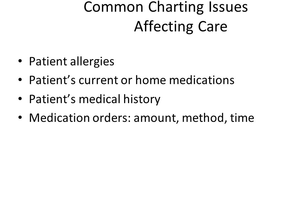 Common Charting Issues Affecting Care Patient allergies Patients current or home medications Patients medical history Medication orders: amount, metho