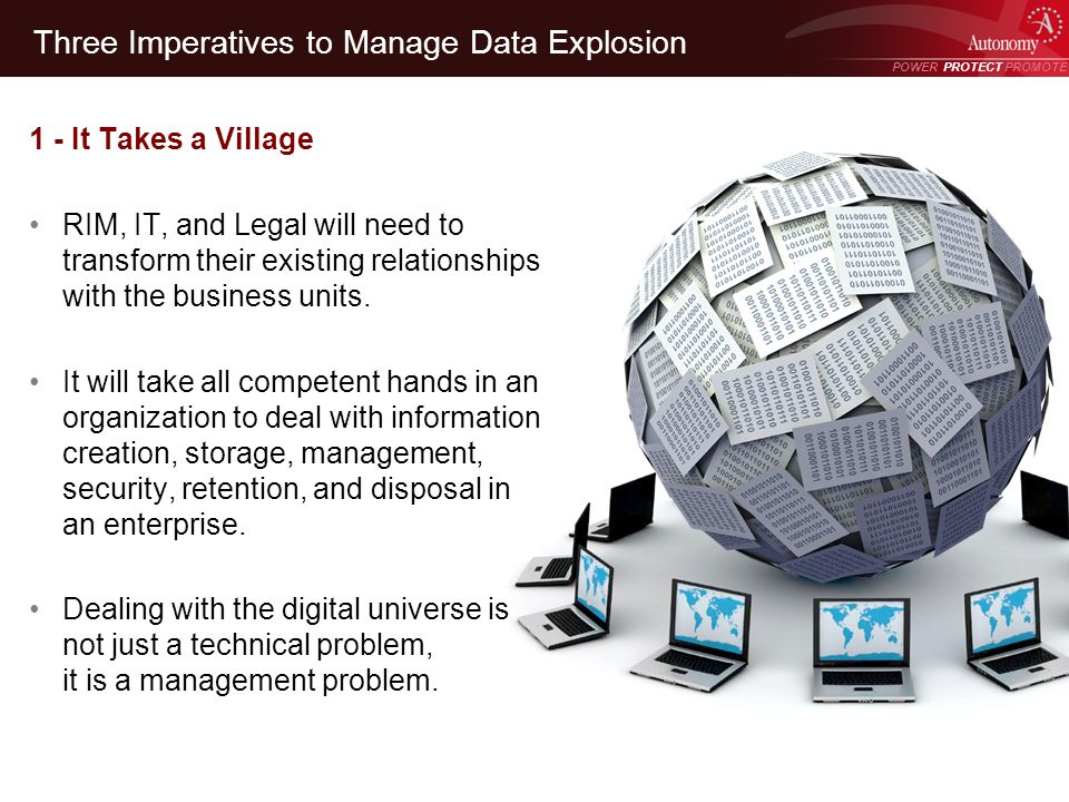POWER PROTECT PROMOTE Power Protect Promote Three Imperatives to Manage Data Explosion 1 - It Takes a Village RIM, IT, and Legal will need to transfor