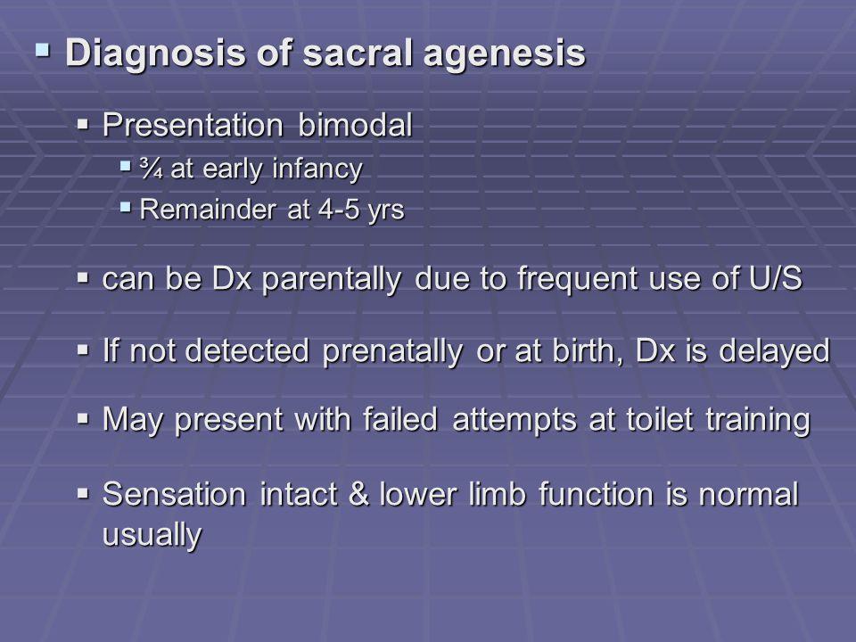 Diagnosis of sacral agenesis Diagnosis of sacral agenesis Presentation bimodal Presentation bimodal ¾ at early infancy ¾ at early infancy Remainder at