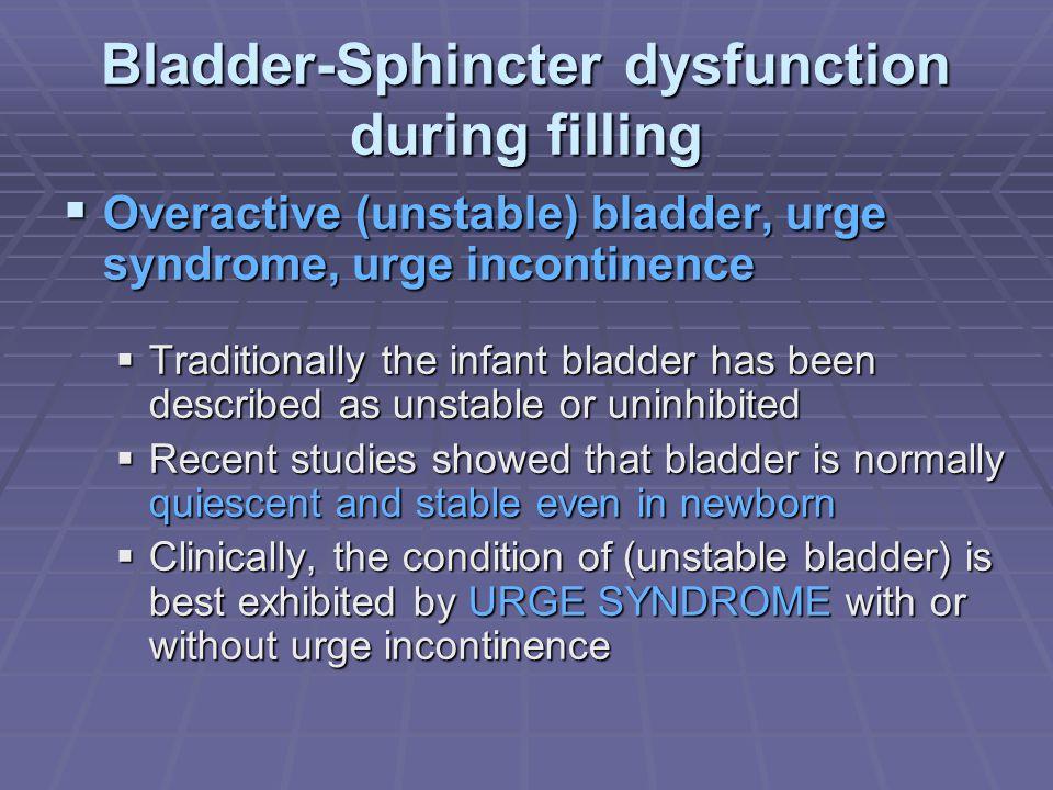 Bladder-Sphincter dysfunction during filling Overactive (unstable) bladder, urge syndrome, urge incontinence Overactive (unstable) bladder, urge syndr