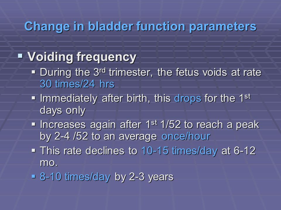 Change in bladder function parameters Voiding frequency Voiding frequency During the 3 rd trimester, the fetus voids at rate 30 times/24 hrs During th