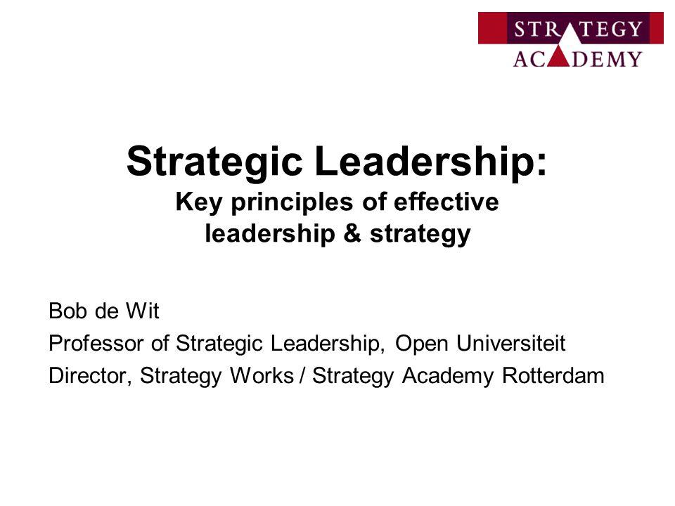 Strategic Leadership: Key principles of effective leadership & strategy Bob de Wit Professor of Strategic Leadership, Open Universiteit Director, Stra