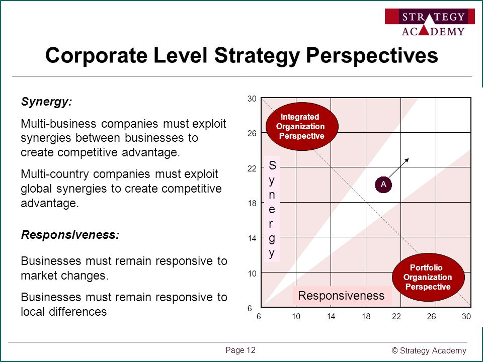 © Strategy Academy Page 12 Corporate Level Strategy Perspectives Portfolio Organization Perspective Integrated Organization Perspective Synergy: Multi