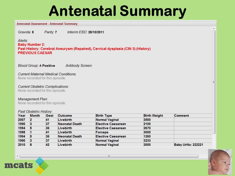 Antenatal Summary