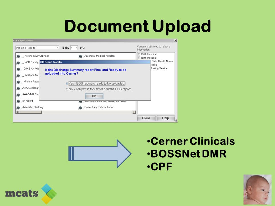 Document Upload Cerner Clinicals BOSSNet DMR CPF