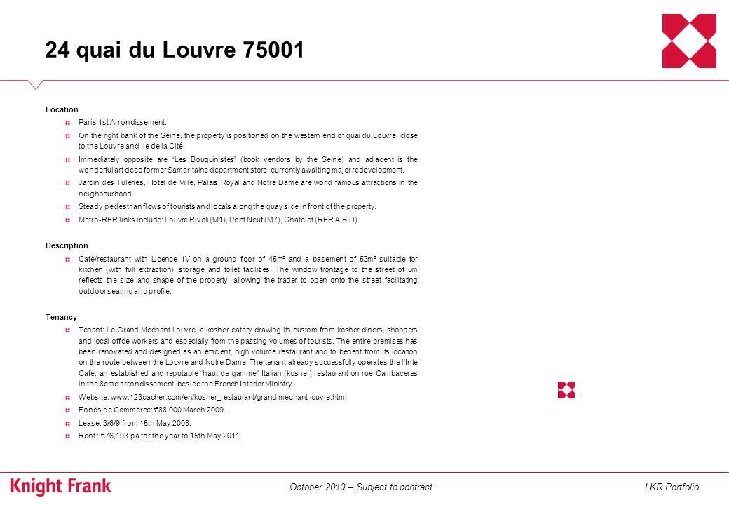 October 2010 – Subject to contractLKR Portfolio Location Paris 2nd Arrondissement.