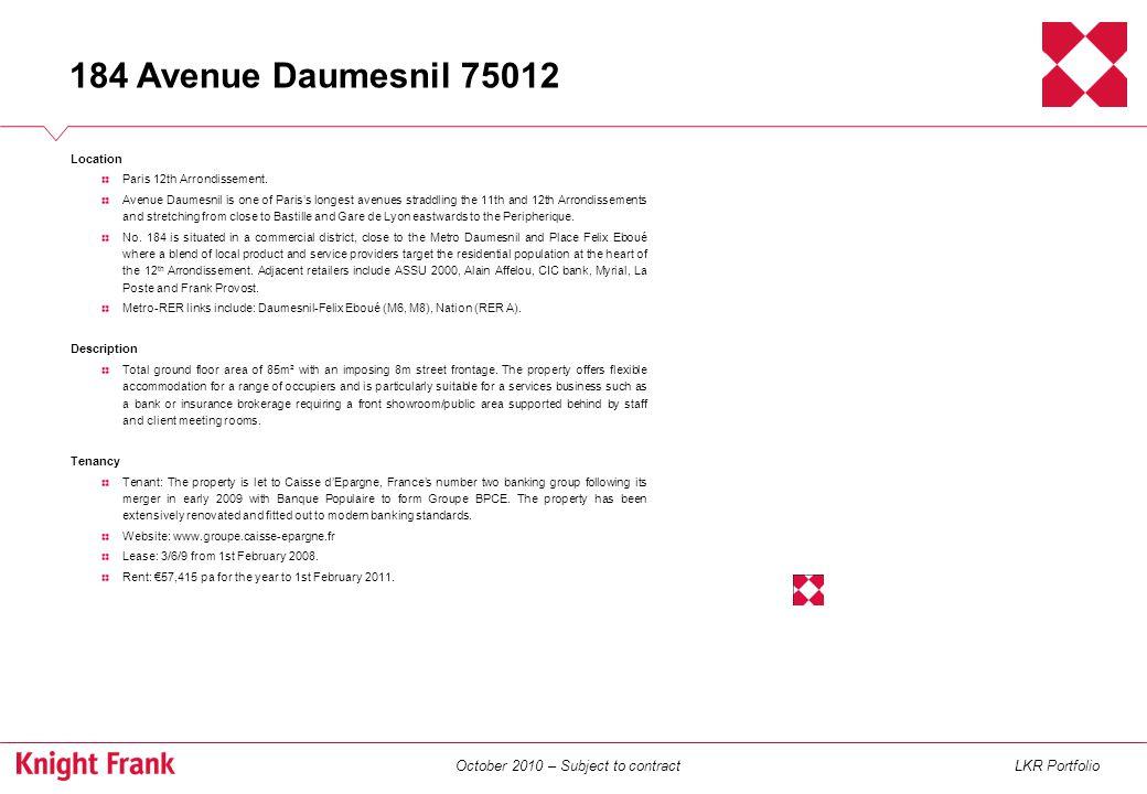October 2010 – Subject to contractLKR Portfolio Location Paris 14th Arrondissement.