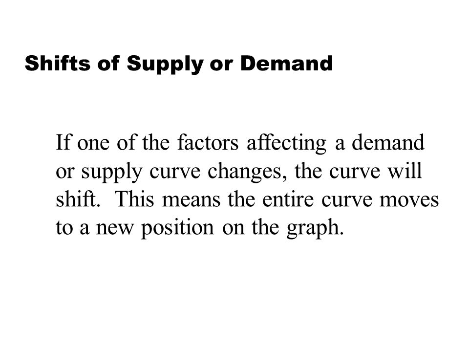 Shifts of Supply or Demand If one of the factors affecting a demand or supply curve changes, the curve will shift. This means the entire curve moves t
