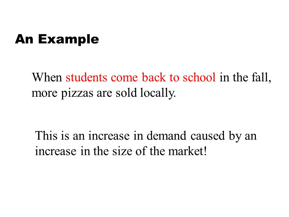 An Example When students come back to school in the fall, more pizzas are sold locally. This is an increase in demand caused by an increase in the siz