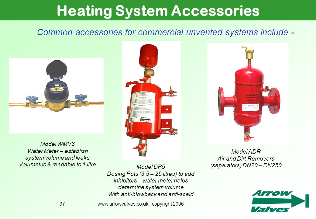 www.arrowvalves.co.uk copyright 200637 Heating System Accessories Common accessories for commercial unvented systems include - Model WMV3 Water Meter