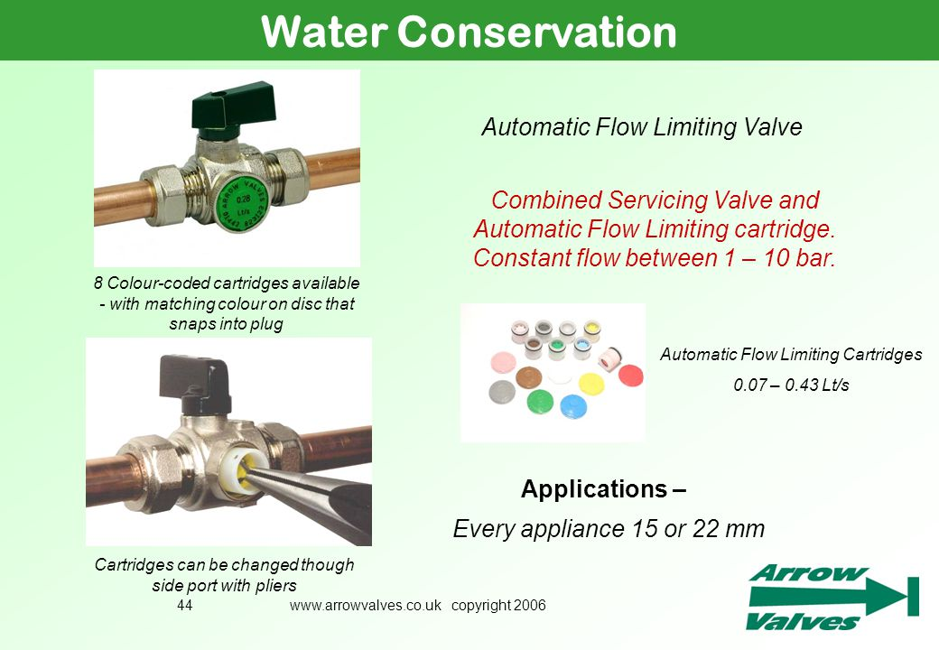 www.arrowvalves.co.uk copyright 200644 Water Conservation Automatic Flow Limiting Valve Combined Servicing Valve and Automatic Flow Limiting cartridge