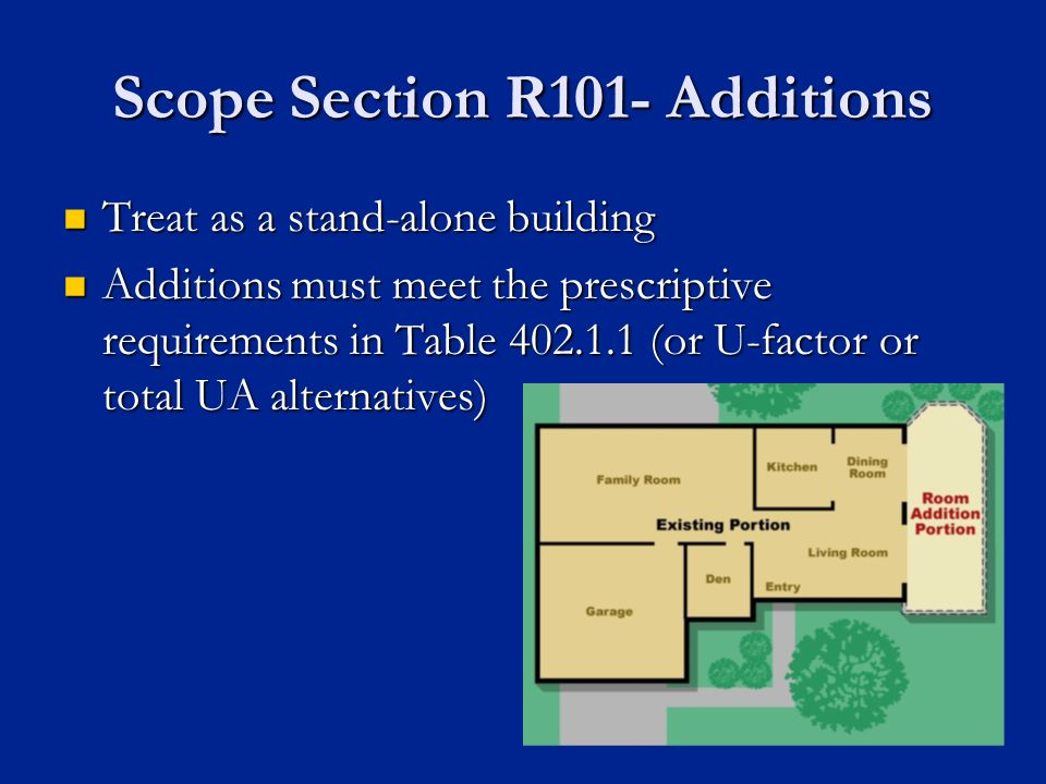 Scope Section R101- Additions Treat as a stand-alone building Treat as a stand-alone building Additions must meet the prescriptive requirements in Table 402.1.1 (or U-factor or total UA alternatives) Additions must meet the prescriptive requirements in Table 402.1.1 (or U-factor or total UA alternatives)